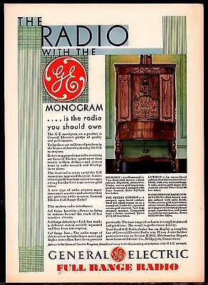 1930 GENERAL ELECTRIC GE High Boy Console Antique Radio PRINT AD Advertising