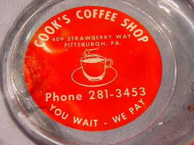Vintage Cook's Coffee Shop Pittsburgh PA  Ashtray