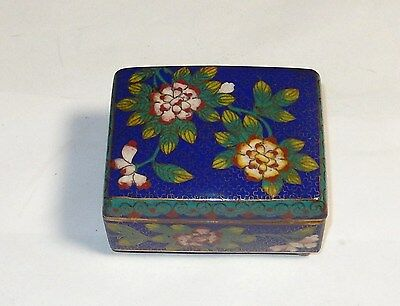 Old Chinese Cloisonne Blue Enamel Flower Humidor Footed Jar Box