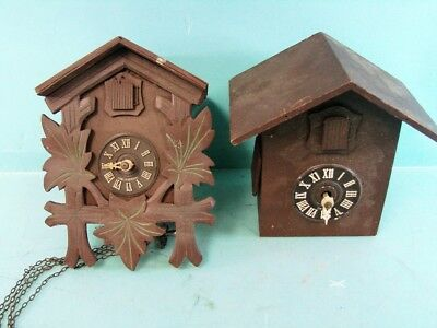 Lot 2 Small Antique Wooden Cuckoo Clocks Made In Germany Chain Weight Mechanisms