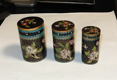 Three Piece Black Cloisonne Enamel Floral Blossoms Trinket Nested Jar Box