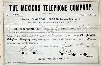 Mexican Telephone Company, New York - 1888