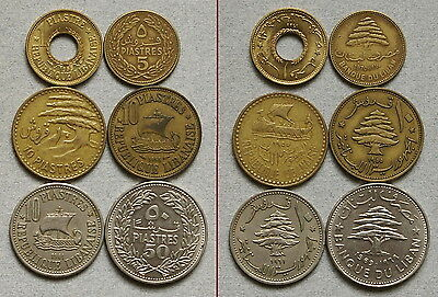 LEBANON 1, 5, 10, & 50 Piastres 1955-1970 - Lot of 6 Coins, No Reserve!