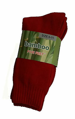 3 Prs Ladies Sz 6-11 Red Bamboo Cushion Foot Extra Thick Hiking Socks
