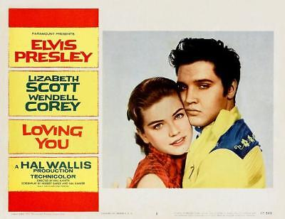 ELVIS PRESLEY & DOLORES HART * LOVING YOU * great close-up 11x14 LC print * 1957