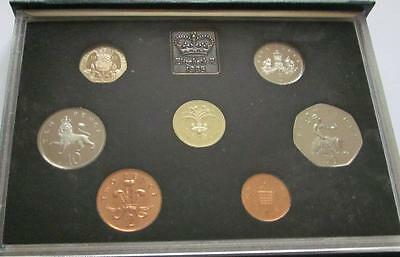 Royal Mint Blue Cased Proof 7 x Coin Set 1985 with Welsh £1