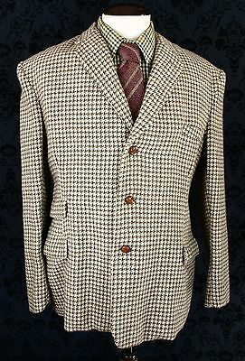 "GREAT MENS VTG HARRIS TWEED 1940's 40's JACKET BLAZER 3 POCKET 44""  / SLIM 46"""