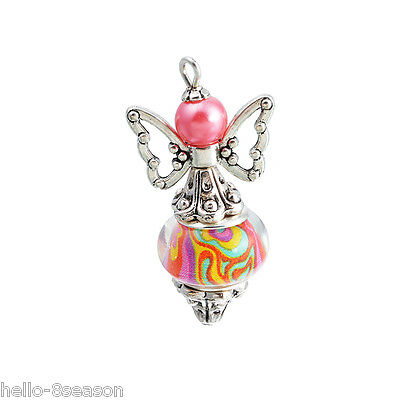 3 PCs Fixed Mixed Angel Multicolor Pattern Metal Pendants Jewelry 35x18mm