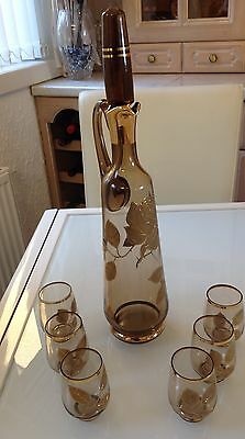 Bohemian  Smoked Glass Decanter & 6 x Glasses, (gilt floral design )