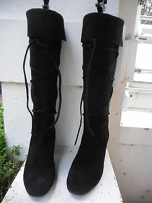 Filippo Raphael Black Leather  Knee High Pull On Boots Ties Heels Exc Cond 37 6