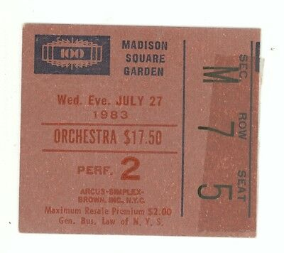 RARE David Bowie 7/27/83 NYC NY Madison Square Garden Concert Ticket Stub! MSG