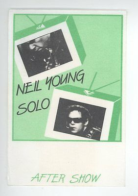 ORIGINAL Neil Young 1983 Solo Trans Tour Cloth AFTER SHOW Backstage Pass! Green