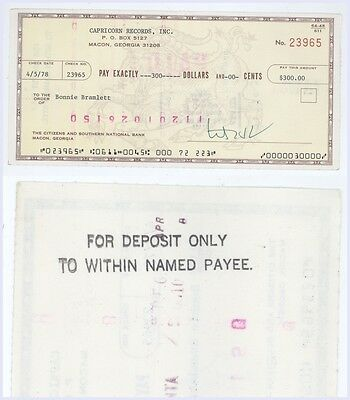 RARE Bonnie Bramlett Cancelled Check! Delany And Eric Clapton A40
