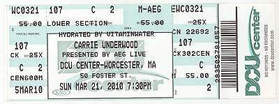 Rare CARRIE UNDERWOOD 3/21/10 Worcester MA Concert Ticket! Boston