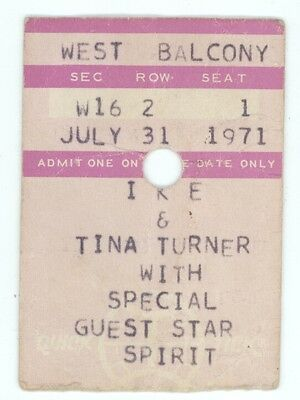 RARE Ike & Tina Turner and Sprit 7/31/71 Sam Houston Coliseum Ticket Stub!