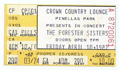 RARE The Forester Sisters 4/10/87 Pinellas Park FL Concert Ticket Stub!