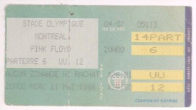 RARE Pink Floyd 5/11/88 Montreal Quebec Canada Concert Ticket Stub!