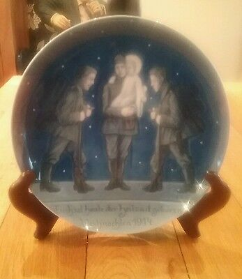 Rare WW1 Imperial German Patriotic Plate showing 3 Soldiers with the baby Jesus'