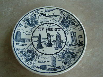 Vintage New York City city of wonders plate with Twin Towers