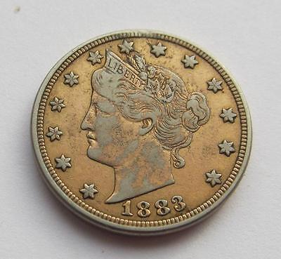 USA Copper-Nickel Liberty Nickel dated 1883 without cents Good PLATED FILLER