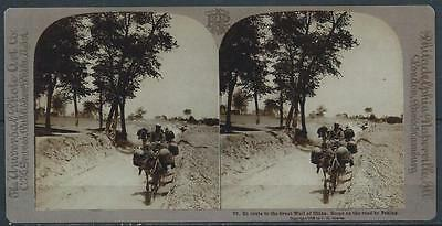 1908 China Stereograph-  Scene On The Road From Great Wall To  Peking