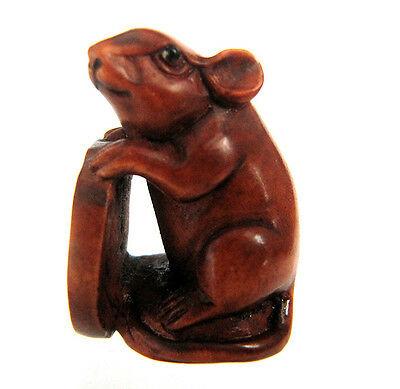 "YJ727 - 1 "" VERY nice Hand Carved Boxwood Ojime Bead : Wealthy Mouse Rat"