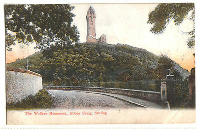 Old Postcard The Wallace Monument, Abbey Craig, Stirling. C W W  Postcard. 1905