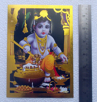 """Baby Lord Krishna - POSTER (Golden Foiled Paper) - 5""""x7"""""""