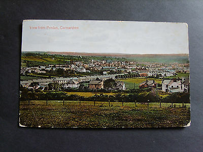 Carmarthenshire: View From Penlan, Carmarthen - Printed - Posted 1914