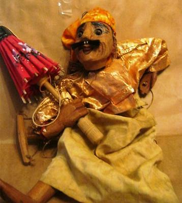 "18"" Middle Eastern ? Male Character Wooden Hand Made Puppet Moving Eyes/mouth"