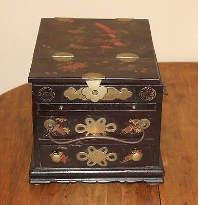 Asian Lacquer Large Jewelry Box With 2 Drawers, 2 Mirrors And Brass Fittings