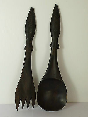 Nice Vintage Ebony Wood Salad Servers With Fish Detail Handles