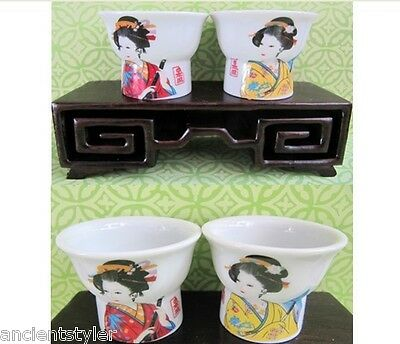 SALE - Pair of LOVELY Oriental Style Geisha pottery Magic Sake Cups ( Couple )
