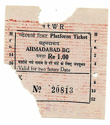 India, Western Railway: Ahmadabad Bg Paper Platform Ticket.