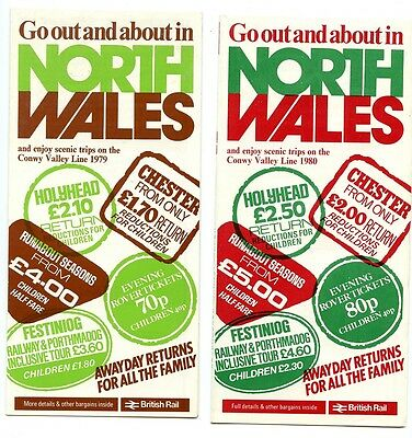 2 X British Rail:'go Out & About In North Wales' Leaflets, 1979 & 1980.