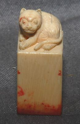 Good Antique Japanese Bone Tiger Cub Carving On Seal-  High Quality Artwork!