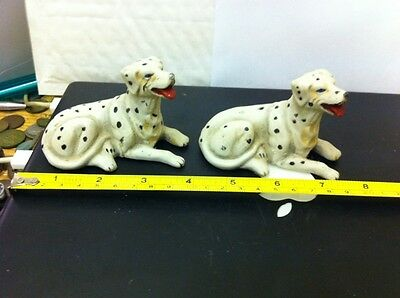 Pair Of Antique Bisque Handpainted Dalmation Dogs Free Uk Postage