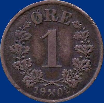 1902 Norway 1 Ore Coin