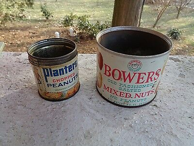 2 Vintage Peanuts Tin Planters Chopped Peanuts Bowers Mixed Nuts Mr Peanut Can