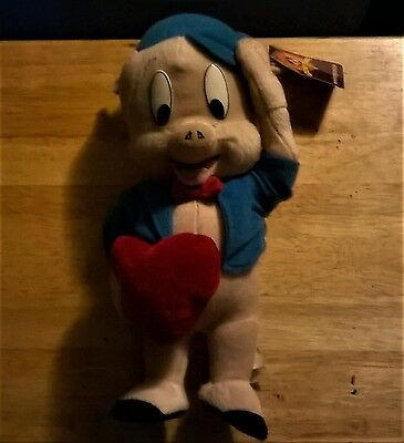 Looney Tunes Pork Pig Blue Jacket & Hat Red Bow Tie + Heart 12 In Plush Nanco WB