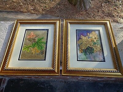 Vintage Lot Of 2  Framed Art Linda Pratt Harrisburg Pa Foil Art Print Picture