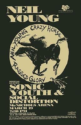 Neil Young Sonic Youth Social Distortion Denver 1989 Concert Poster