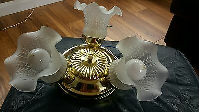 Flush Ceiling Light - Gold with 3 Frosted Glass Shades + 2 Bulbs - Lot 1 of 2