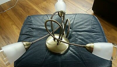 Ceiling Light 3 Arm Antique Brass Effect + Frosted Glass Shades + Bulbs - 2 of 3