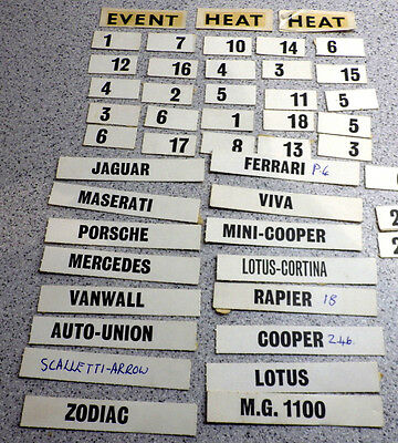 Assorted Old Scalextric car names & Nos