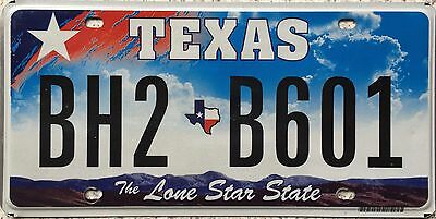 FREE UK POSTAGE Texas Lone Star State Flat USA License Number Plate BH2 B601