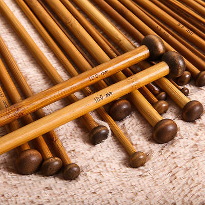 36pcs 36cm Carbonized Bamboo Knitting Needles Smooth Single Pointed 18 Sizes