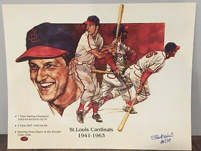 Stan Musial autographed Cardinals Poster signed Hall of Fame Baseball auto STM