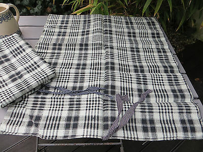 2 Two Checked Handwoven Linen Pillowcase Pillow Cases Pillow Shams  Unused