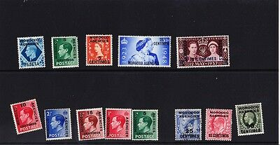 "13 GB stamps overprinted ""Morocco Agencies"""